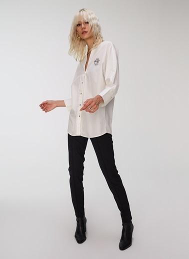 People By Fabrika Taş İşlemeli Poplin Gömlek Beyaz